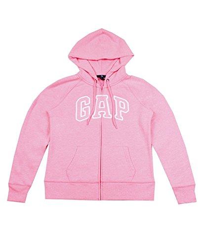 Gap logotipo de arco de forro polar para mujer (cremallera completa sudadera con capucha -  Rosado -