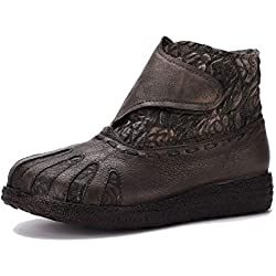 Botines de Mujer de Cuero Genuino étnico Vintage Suela Blanda y cómodas Botas de Velcro Zapatos de otoño e Invierno Hechos a Mano