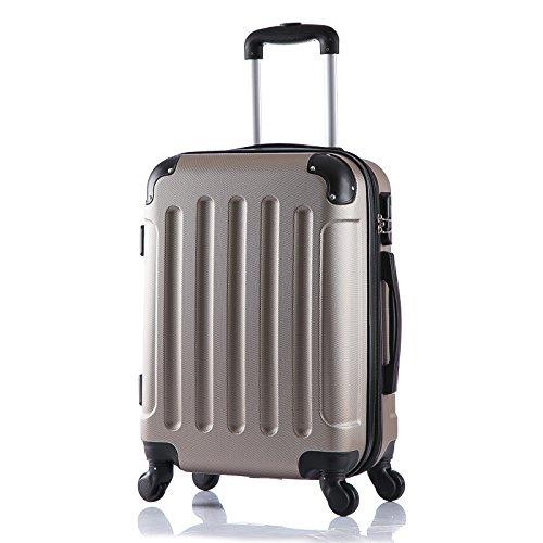 WOLTU RK4201ch Reise Koffer Trolley Hartschale mit erweiterbare Volumen , Reisekoffer Hartschalenkoffer 4 Rollen , M / L / XL / Set , leicht und günstig , Champagne (M, 56 cm & 42 Liter)