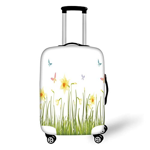 Travel Luggage Cover Suitcase Protector,Daffodil Decor,Daffodil Field with Butterflies in Meadow Grass Springtime Park Easter Illustration,Yellow Green,for Travels 19x27.5Inch Butterfly Meadow Box