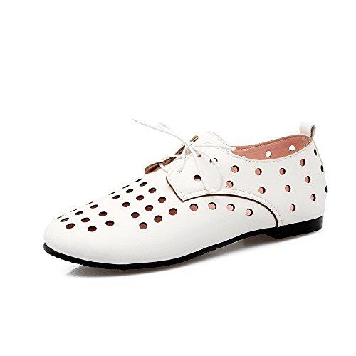 Puro De Brancos Baixos Pu Rendas Sapatos Toe Salto Voguezone009 Rodada Couro Senhoras Sem R0TOqwn