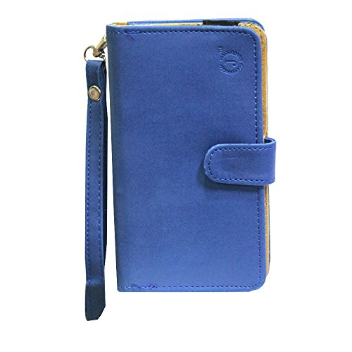 J Cover A9 Nillofer Leather Carry Case Cover Pouch Wallet Case For ZTE Blade S6 Dark Blue