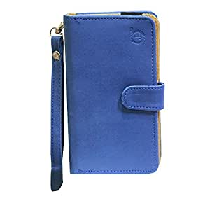 J Cover A9 Nillofer Leather Carry Case Cover Pouch Wallet Case For Gionee Pioneer P2 Dark Blue