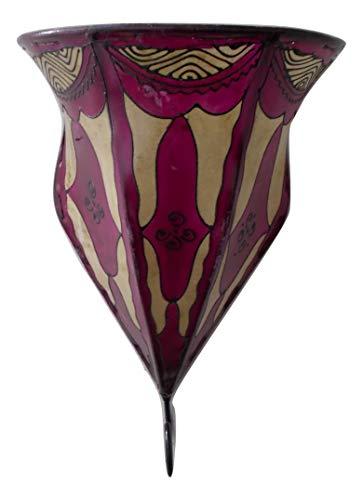 Aplique de Pared lámpara Farol de Hierro y Piel Pintada A Mano Cubierta Marruecos morocchina étnico Araba 0202191204