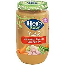 Hero Baby Guisantes con Jamn, Tarrito de Cristal - 235 gr - [pack de 6]