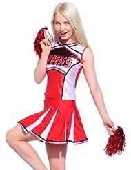 Sexy Cheerleader Kostuem Uniform Cheerleading Cheer Leader GOGO Schul GIRL Rot Gr.S/M