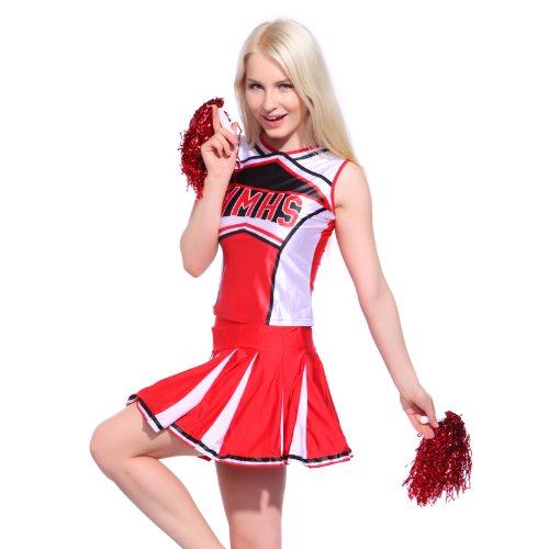 Sexy Cheerleader Uniform Trikot Kleider Cheerleading Cheer Leader Kostüm Schulgirl/Schulmädchen GOGO Fasching Karneval Rot Gr. S Top Rock mit Pompins