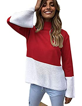 Zilcremo Mujeres Casual Suéteres Patchwork Cuello Alto Jersey Suéter Tops