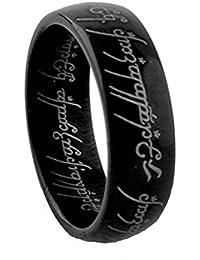 Anillo De Acero Inoxidable One Ring of Power El Señor De One Ring Lovers Mujer Hombre Fashion Jewelry,Black,11
