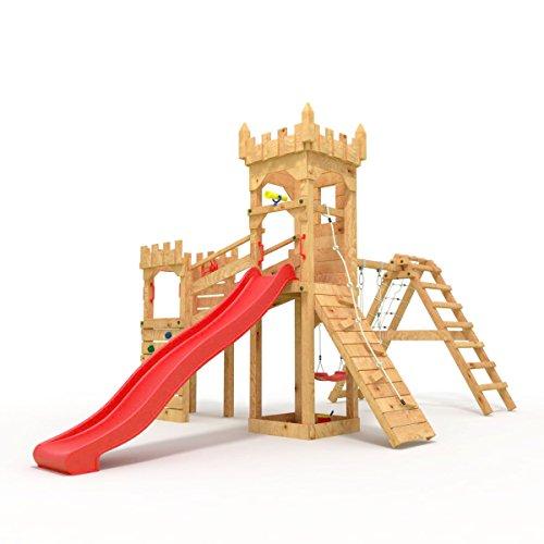 """Spielturm - Ritterburg """"XL"""" - 3m Rutsche, 2x Türme, 1.50 und 1.20m Podesthöhen, Brücke, Rutsche, Kletterwand und Sandkasten, verschiedene Farben offen (Zacken) rote Rutsche/Schaukel"""