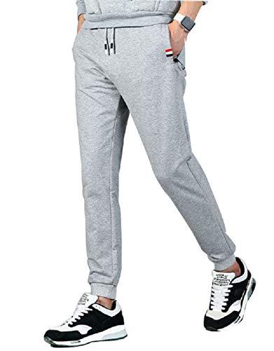 CHYU Herren Jogginghose, Herren Trainingshose, Jogginghose Herren Sporthose Herren Lang Sweatpants Baumwolle mit Reissverschluss, Hellgrau, XL