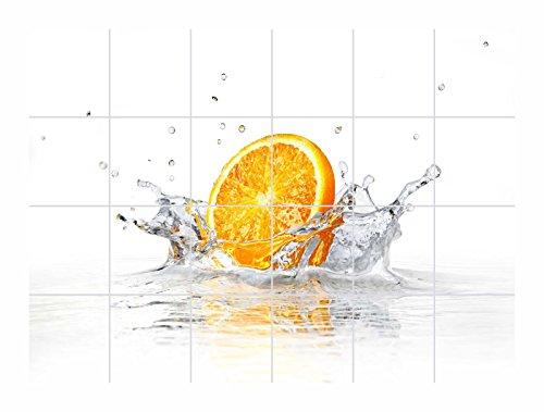 FoLIESEN Fliesenaufkleber für Bad und Küche - Fliesenposter - Motiv- Splashing Orange - Fliesengröße 15x20 cm (LxH) - Fliesenbild 60x40 cm (LxH)