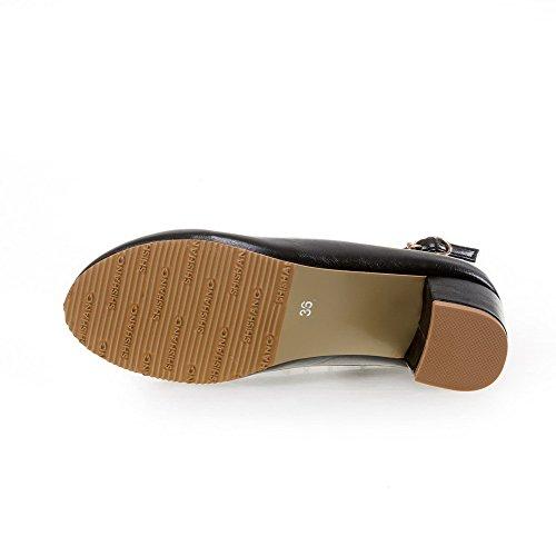 AllhqFashion Femme Boucle Rond à Talon Correct Pu Cuir Mosaïque Chaussures Légeres Noir