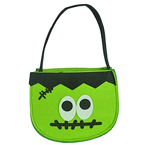 FUNDIY Halloween Loot Party Pumpkin Black Cat Ghost Trick or Treat Tote Bags Kids Child Candy Bag Toys Gift Holder Handbag Non-woven
