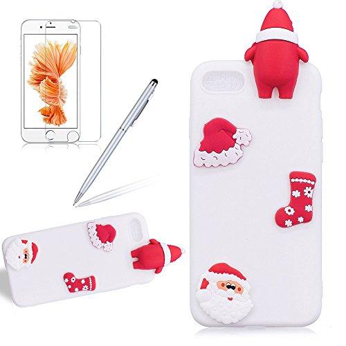 Girlyard Custodia per Apple iPhone 7 Plus / 8 Plus Antiurto - Cover in Silicone TPU - Back Case Protettiva Posteriore per Cellulare Babbo Natale Nero Babbo Natale Bianco
