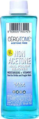 "CERO Cerotone MINT Perfumed ""NON ACETONE"" Nail Polish Remover (ACETONE FREE best for Fragile / Brittle Nails) Moisturisers + Vitamin E (200ml)"