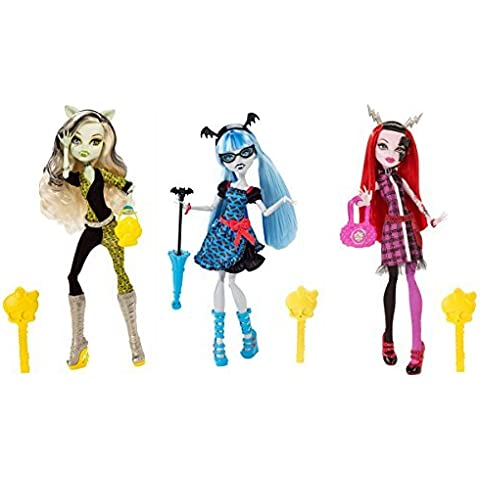 Monster High Freaky Fusion Frankie Stein, Ghoulia Yelps & Operetta Set of 3 Dolls by Mattel