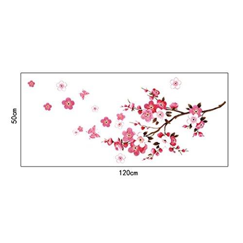 PAOLIAN Pegatinas De Pared HabitacióN Peach Blossom Flor Mariposa Paredes Pegatinas Vinilo Decalques Art Decorativas Mural PVC (Rosa)