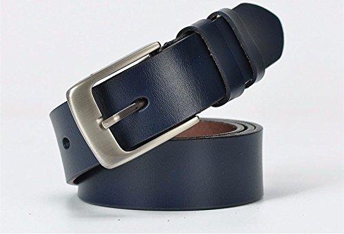 QIER-YD Frauen Leder Bandbreite Rindsleder einfache Dornschließe lässig Gürtel Blau 110cm -