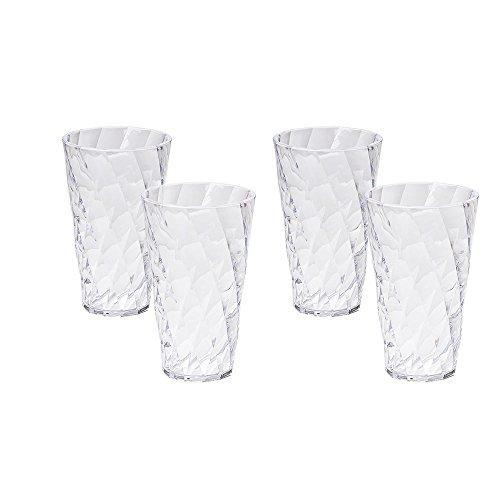 Omada design 4 bicchieri da bibita da 40 cl, misure 9x h 15cm,infrangibili perché in plastica di qualità ottica, lavabili in lavastoviglie,da usare ogni giorno,trasparenti,linea diamond