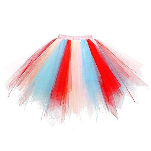 Honeystore Damen's Tutu Unterkleid Rock Abschlussball Abend Gelegenheit Zubehör Blau Rot und ()