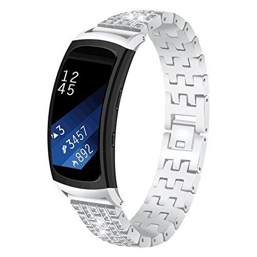 AUTOECHO Autecho, Cinturino per Samsung Galaxy Gear Fit 2 SM-R360, Accessorio Classico di Lusso con Strass in Acciaio Inox, Cinturino per Orologio da Donna e Uomo, Unisex, Silver