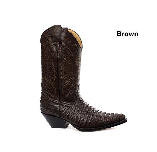 Grinders Carolina Marron Croc Hommes Western Cow-boy Bottes