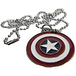 "Collar Colgante Superheroe Marvel Escudo Capitan America Rojo 11"" Cadena Idea Regalo - por Fat-catz-copy-catz"