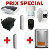 Myfox HC2 Sécurité Evolution Pack de Centrale alarme IP + Capteur TAG + Télécommande avec 4 boutons + Détecteur infrarouge + Relais radio sirène + Caméra IP + Sirène extérieure radio