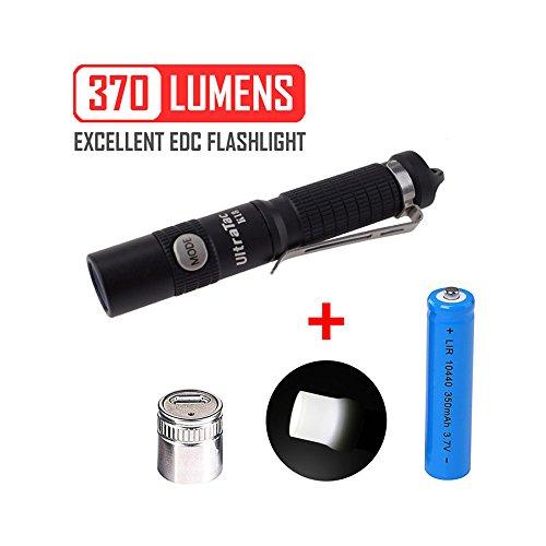 UltraTac K18 Cree 370 Lumen LED Taktische Taschenlampe Tragbare Wasserdichte hohe Leistung AAA Lampe - 10440 Akku und USB-Lader Schlüsselanhänger für Campen Wandern