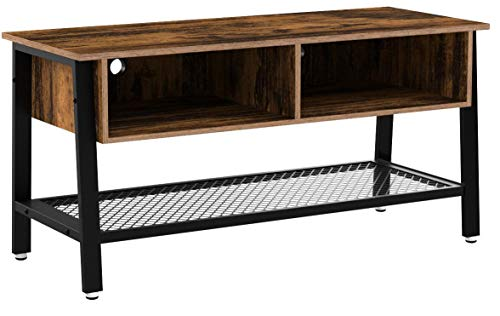 VASAGLE Fernsehtisch im Industrie-Design, TV Tisch, Lowboard, Wohnzimmertisch, stabil, mit Metallgestell und Gitterablage, 2 Schubladen, Used Look, Holzoptik Vintage LTV92X