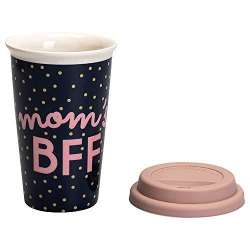 MOM 'S BFF schwarz und pink 22Unze Keramik Travel Tumbler Becher -