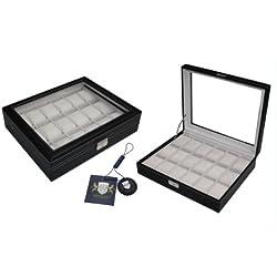 Leder Uhrenbox 18 Uhren mit Sichtfenster Uhrenvitrine Uhrenschatulle schwarz