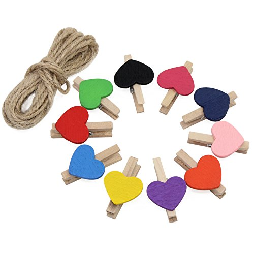 KEESIN Photo Clips Natural MIni Wooden Clothespins Photo Paper Peg Colored Heart DIY Craft Clips with 10m Jute Twine 50PCS,Radom Color(Colored Heart-50PCS)