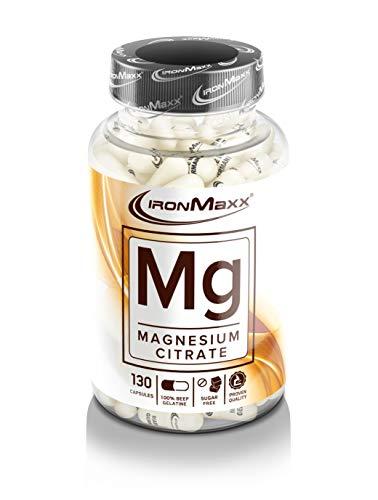 IronMaxx Mg Magnesium - Kapseln mit Magnesium in Form von Magnesiumcitrat - Unterstützen den Energiestoffwechsel & die Muskelfunktion - 1 x 130 Kapseln