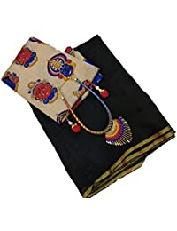SilverStar Women's Chanderi Cotton Plain Saree With Banglori Silk Kalamkari Print Blouse Piece With Necklace And...