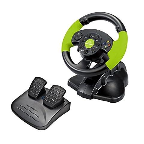 Esperanza HIGH OCTANE XBOX-Edition Gaming Lenkrad mit Gas- und Bremspedal für XBOX 360, Playstation 3 und PC mit Vibration und 13 Action-Tasten