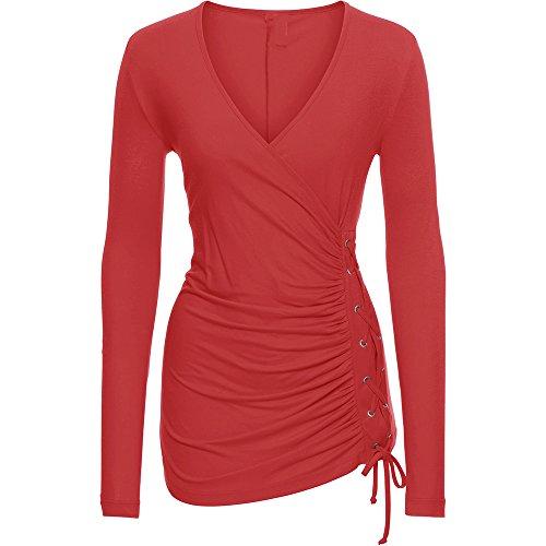 Dihope Femme Printemps Été Top à Manches Longues V Cou Couleur Unie Asymétrique Tee-shirt Casual Haut Top Loisir Mode Rouge