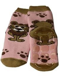 Weri Spezials Unisexe Bebes et Enfants ABS Eponge Lionet Pantoufle Chaussons Chaussettes Antiderapants Rose