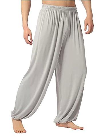 Hommes Super Soft Modal Harem Yoga Pilates Pantalon Bouffant Casual Sarouel Elastique Sport Pantalons Gris Clair L