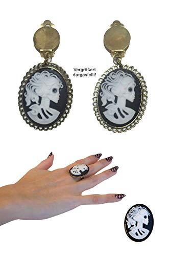 (Karneval Klamotten Ring und Ohrringe Set Gothic Horror La Catrina Totenkopf Halloween Schmuck Ring Ohrringe)