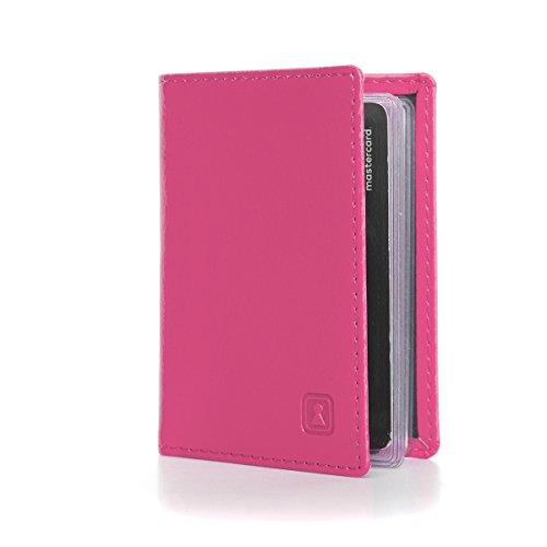 OPTEXX RFID Karten-etui Herren/Damen Personal-ausweis  Kredit-karten  Bankkarten Charly Pink Rosa aus Vegi Leder TÜV geprüft und zertifiziert