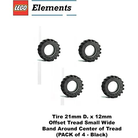 Lego Parts: Tire 21mm D. x 12mm - Offset Tread Small Wide, Band Around Center of Tread by Parts -