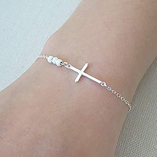 mothcattl Einfache Mode Silber und Weiß Kreuz Design Armband Einfach zu tragen Silver - Beine Plus Kit