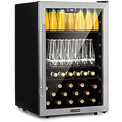 Klarstein Beersafe XXL réfrigérateur à boissons • réfrigérateur • 148L: jusqu'à 231 canettes • 3 étagères métalliques • porte vitrée • roulettes • façade en inox