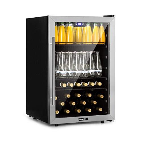 Klarstein Beersafe 5XL Getränkekühlschrank - Kühlschrank, 148 L für bis zu 231 Getränkedosen, 3 Metalleinlegeböden, Glastür, Energieeffizienzklasse A+, freistehend, Bodenrollen, Edelstahlfront