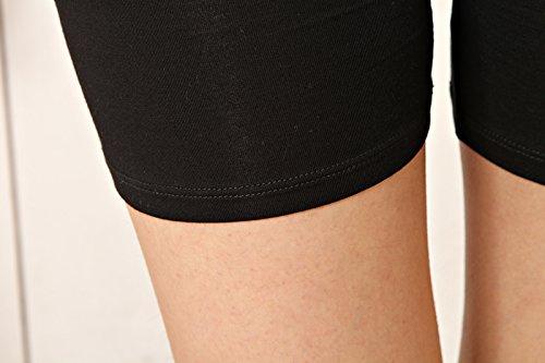 Liang Rou Damen Elasthan kurz Leggings 3-Pack 3-Pack: Plain Schwarz/Beige/Weiß