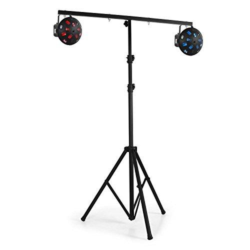 Lightcraft LS-100-Pro • Lichtstativ • Diskolicht-Ständer • für 4 Licht-Effekte • 100 cm Crossbar • 45 kg max. • Dreibein-Konstruktion • zusammenklappbar • leichter Aufbau • einfacher Transport • solide Bauweise • rutschfeste Gummifüße • schwarz