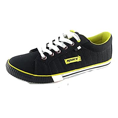Sparx Men's Black and Yellow Canvas Sneakers (10 UK)