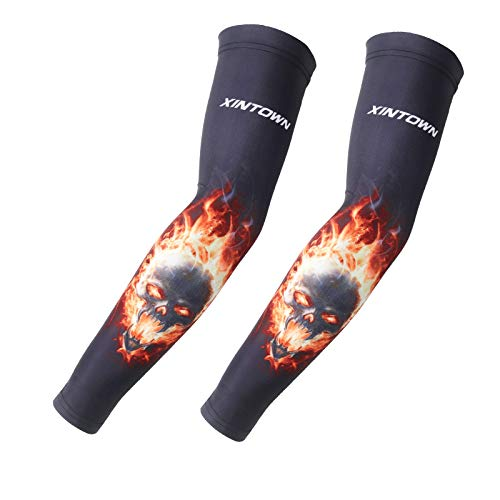 CXQ Eis Seide Sonnencreme Manschette Männer Armbinde weiblichen Arm Set Tattoo Blume Arm fahren Radfahren Sport, Bad Feuer, ()